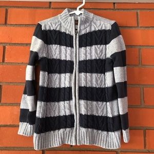 TEA Striped Zip Front Sweater Size Small 4-5